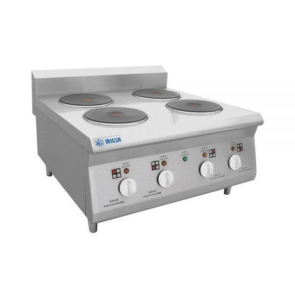 Parrilla eléctrica con 4 platos calientes