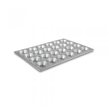 Charola muffin aluminio c/teflon 24 pzs